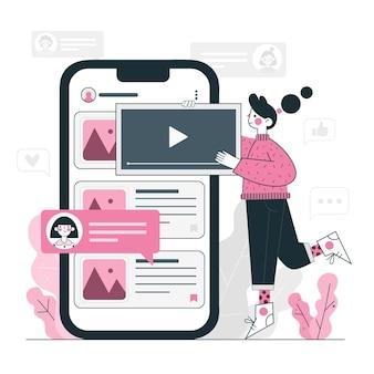 Ilustração do conceito de postagem no blog