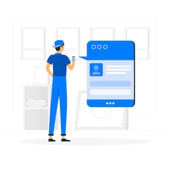 Ilustração do conceito de postagem