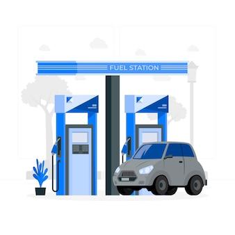 Ilustração do conceito de posto de combustível
