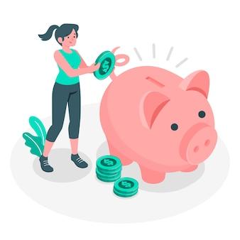 Ilustração do conceito de poupança