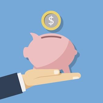 Ilustração do conceito de poupar dinheiro. cofrinho rosa e uma moeda ou dinheiro na mão de uma pessoa. ilustração plana