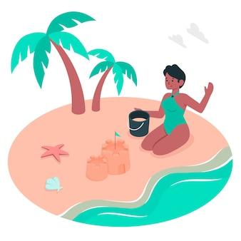 Ilustração do conceito de praia