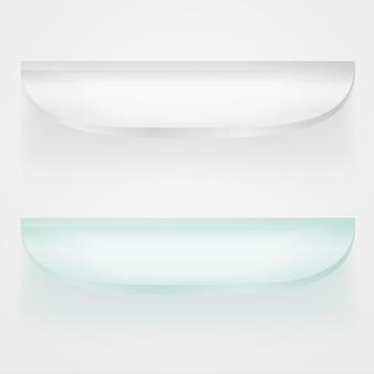Ilustração do conceito de prateleiras de vidro