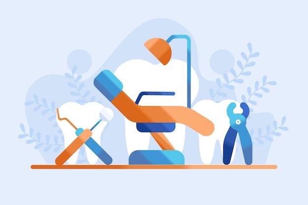 Ilustração do conceito de prática odontológica