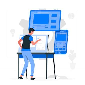 Ilustração do conceito de processo de prototipagem
