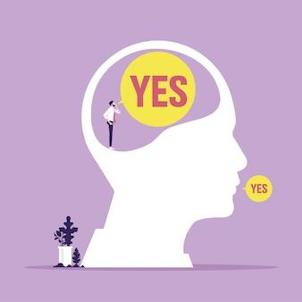 Ilustração do conceito de processo mental de autocontrole de uma cabeça humana sendo controlada por um empresário