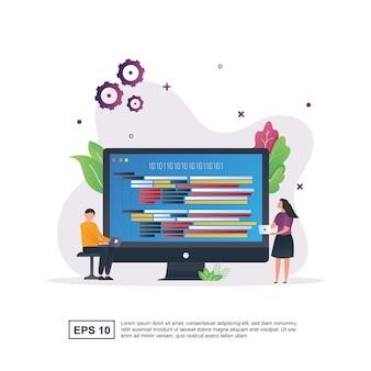 Ilustração do conceito de programação com a linguagem de programação que está na tela do monitor.