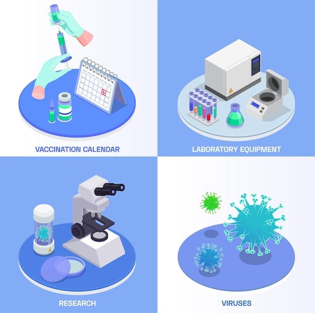 Ilustração do conceito de projeto isométrico de vacinação