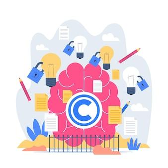 Ilustração do conceito de propriedade intelectual