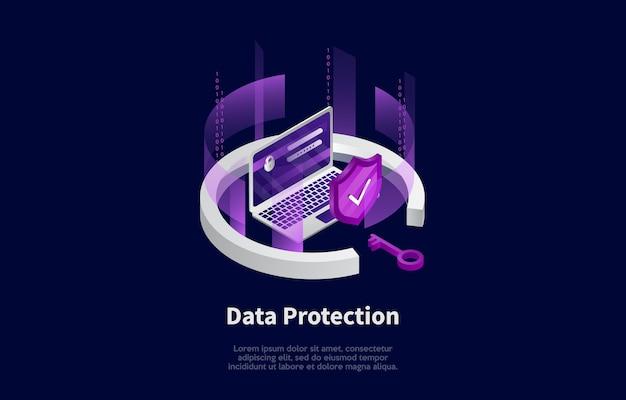 Ilustração do conceito de proteção de privacidade de dados e informações no estilo dos desenhos animados 3d.