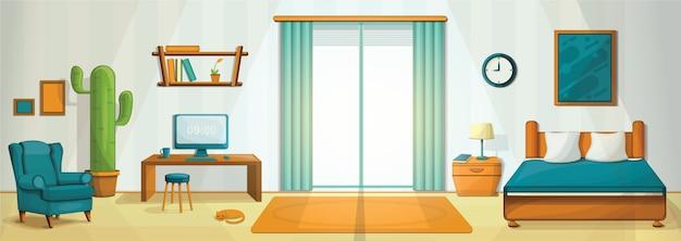 Ilustração do conceito de quarto interior, estilo cartoon