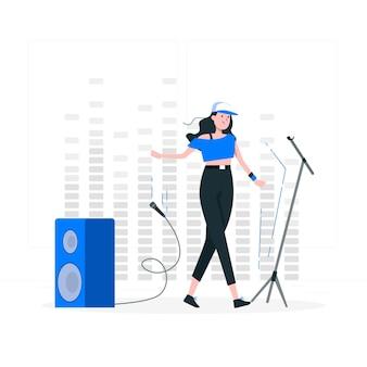 Ilustração do conceito de queda de microfone