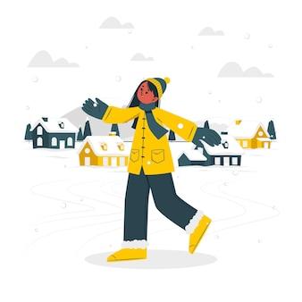 Ilustração do conceito de queda de neve