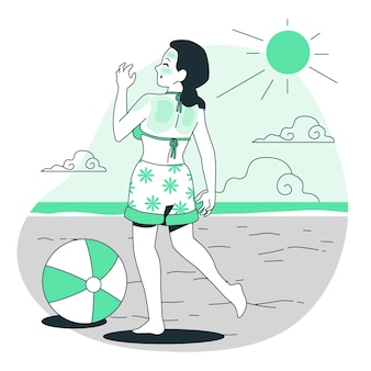 Ilustração do conceito de queimadura solar