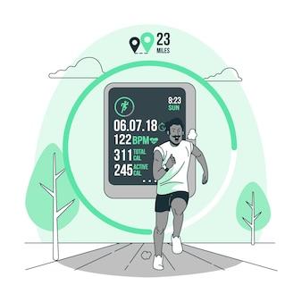 Ilustração do conceito de rastreador de fitness
