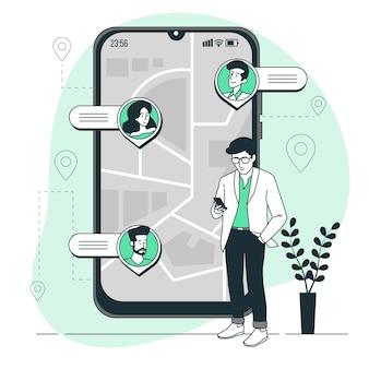 Ilustração do conceito de rastreamento de localização