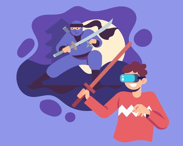 Ilustração do conceito de realidade virtual