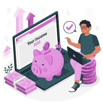 Ilustração do conceito de receita de dinheiro