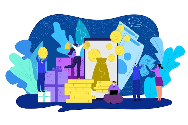 Ilustração do conceito de recompensa em dinheiro de volta. pessoas com moedas do dólar de ouro no céu. desconto em dinheiro. comércio, finanças e garantia de reembolso bancário. descontando reembolso e clientes satisfeitos.