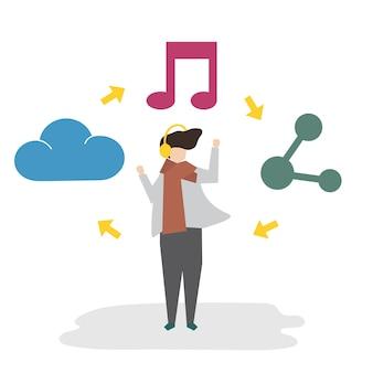 Ilustração do conceito de rede social de avatar