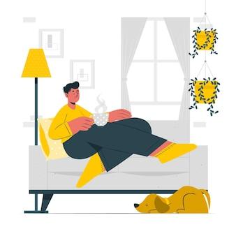 Ilustração do conceito de relaxamento em casa