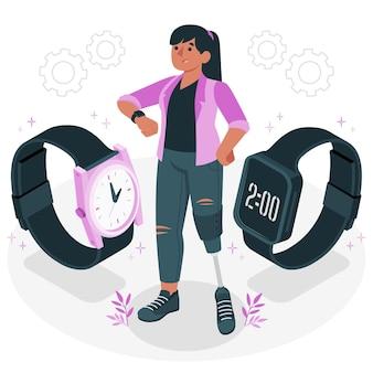 Ilustração do conceito de relógio de pulso