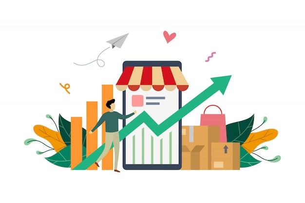 Ilustração do conceito de renda de marketing eletrônico