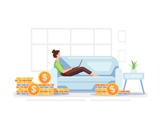 Ilustração do conceito de renda passiva. mulher jovem que trabalha em casa com pilha de moedas. vetor em um estilo simples