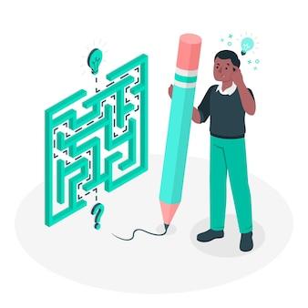 Ilustração do conceito de resolução de problemas (labirinto)