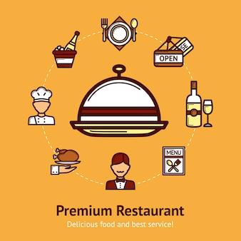 Ilustração do conceito de restaurante