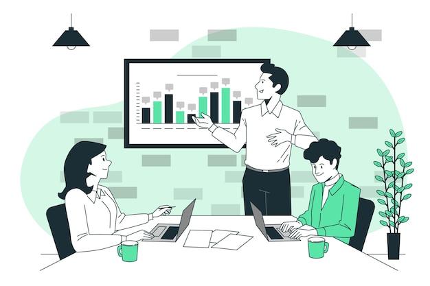 Ilustração do conceito de reunião de apresentação