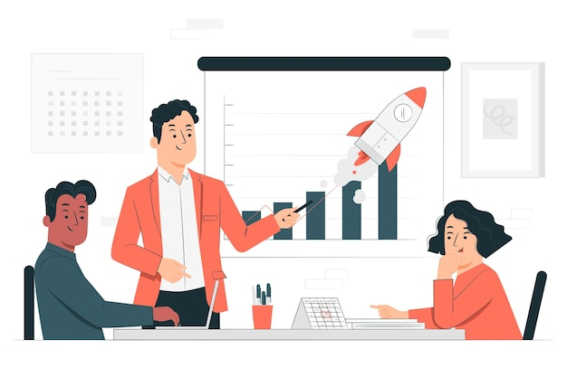 Ilustração do conceito de reunião de argumento de venda