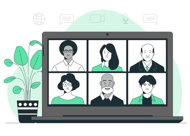Ilustração do conceito de reunião remota