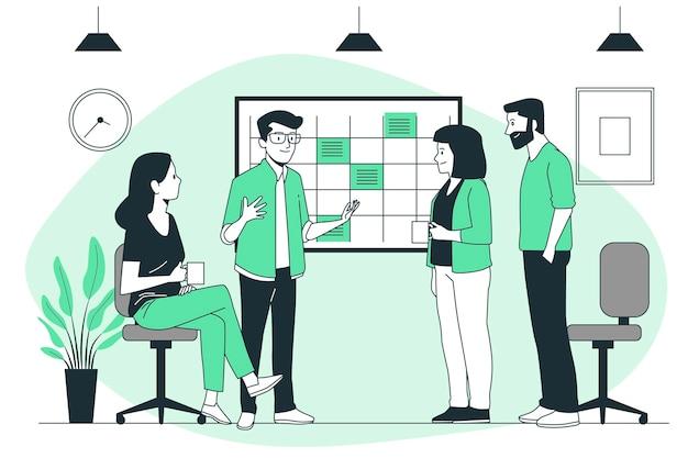 Ilustração do conceito de reunião standup