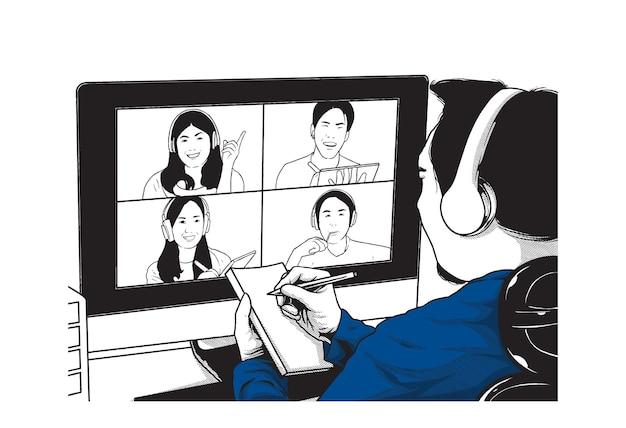 Ilustração do conceito de reunião virtual