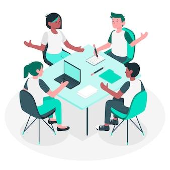Ilustração do conceito de reunião