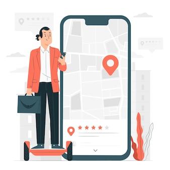 Ilustração do conceito de revisão de localização