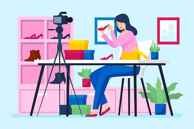 Ilustração do conceito de revisão do blogueiro