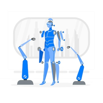 Ilustração do conceito de robô desconstruído