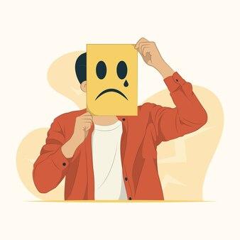 Ilustração do conceito de rosto triste
