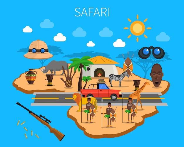 Ilustração do conceito de safári