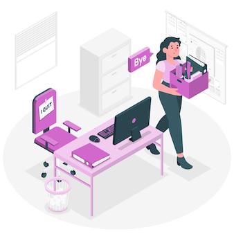 Ilustração do conceito de sair de um emprego