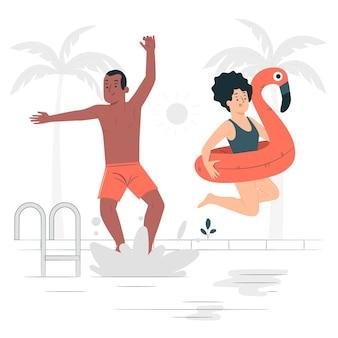 Ilustração do conceito de salto para a piscina