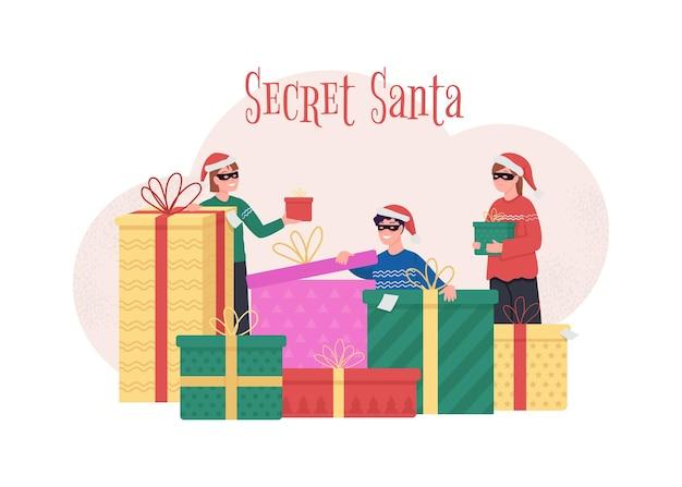 Ilustração do conceito de santa secreta. dê um presente surpresa para um colega de trabalho.