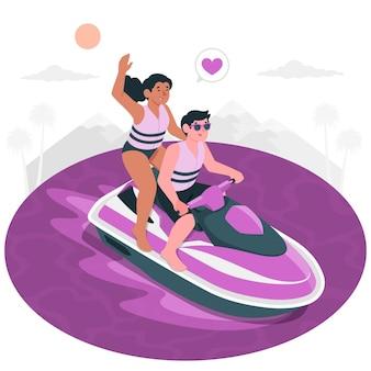 Ilustração do conceito de scooter aquático