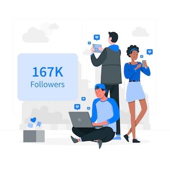 Ilustração do conceito de seguidores