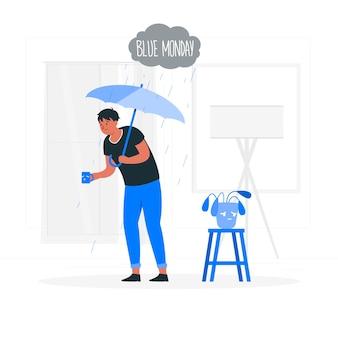 Ilustração do conceito de segunda-feira azul