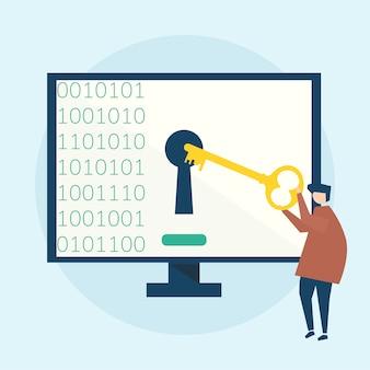 Ilustração do conceito de segurança cibernética