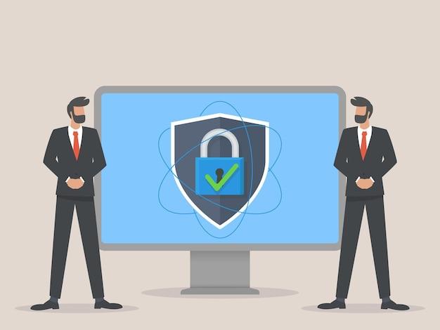 Ilustração do conceito de segurança digital de guarda