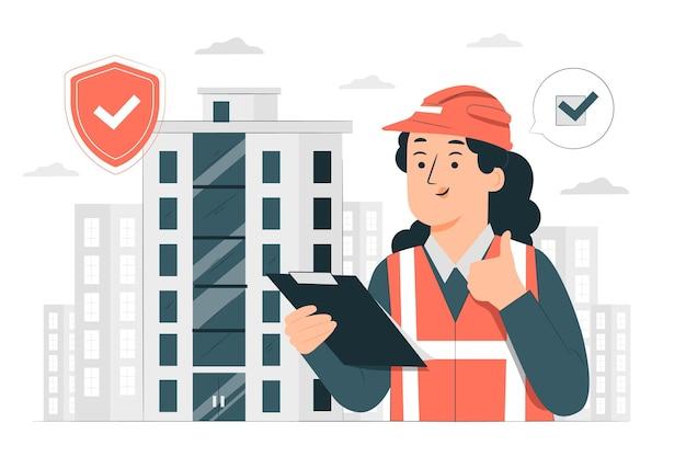 Ilustração do conceito de segurança do edifício